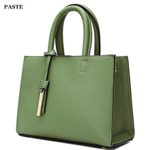 Casual genuine leather women's handbag 2017 Paste new style simple female shoulder bag black/brown/pink/green 7P0512