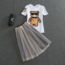 2016 new arrival cartoon cute bear short sleeve t shirt+mesh skirts 2 piece set women crop top and skirt set  (A3454)