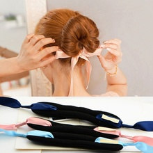 1PCS Fashion Magic Tools Foam Sponge Device Quick Messy Donut Bun Hairstyle Girl Women Hair Bows Band Silk Headband Accessories