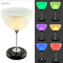 DEYIOU  Hot!!Unique Wine cup shape design Bluetooth Speaker&Colorful Changing Bed Room Lamp