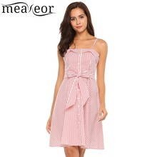 Buy Meaneor Striped Backless Pleated A-Line Party Dress Slash-Neck Shoulder Sleeveless Bow Tie Women Dress Sexy Summer Dress for $12.78 in AliExpress store