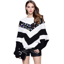 Luxury Runway Sweaters 2017 Fall Autumn Winter Colorful Beading Sweater Women High Quality Long Batwing Sleeve Casual Pullover