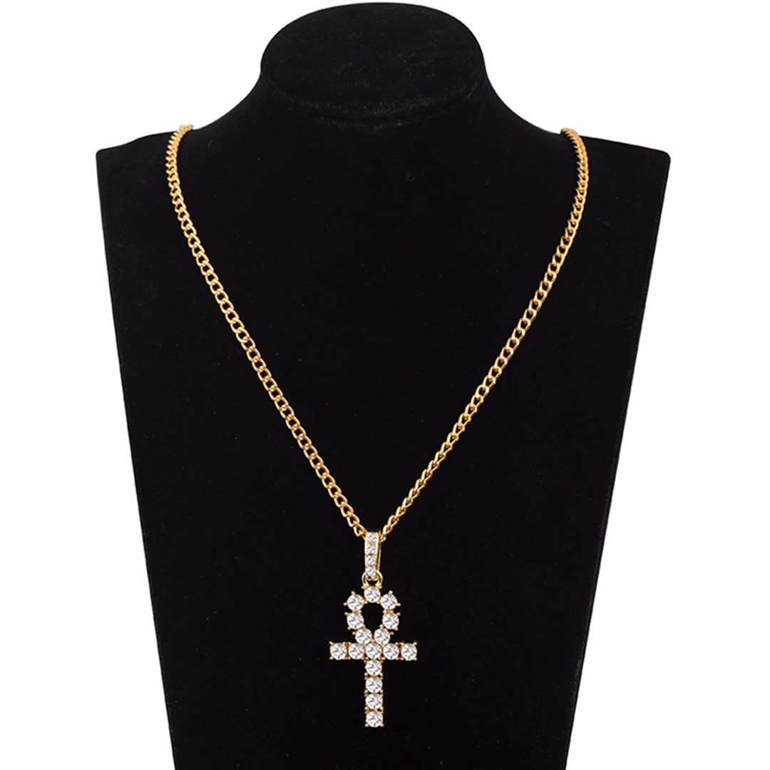 Hip Hop Stainless Steel Cross Pendant Necklace Shellhard Gold Silver Color Crystal Long Chain Necklace Men Women Charm Jewelry