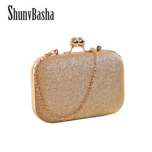 ShunvBasha Hot Sellers Woman Evening bag  Gold Glittered Clutch bags Wallet Wedding Handbags Party Banquet  girls shoulder bag