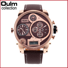 OULM 9316B Original Brand Watches for Men 3 Time Zone Analog - Digital Fashion Leather Casual Watch Montre Homme de Marque Luxe