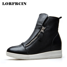 LORFRCIN Genuine Leather Ankle Boots Women Height Increasing Platform Boots Casual Black White Zipper Woman Shoes Autumn