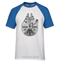 Top Quality Millennium Falcon Men T Shirts Fashion Cotton Star Wars T-shirts Man Solid raglan Sleeve Summer Tee ringer Tee(China)