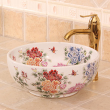 China Painting Peony Ceramic Painting Art Lavabo Bathroom Vessel Sinks Round counter top ceramic colour wash basin(China)