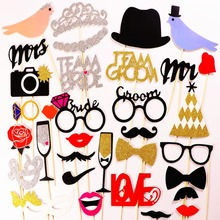 Photo booth MrMrs Just Married Photo Booth Props Groom Bridal Shower Real Flash Glitter DIY Wedding Party Decorations Foto booth