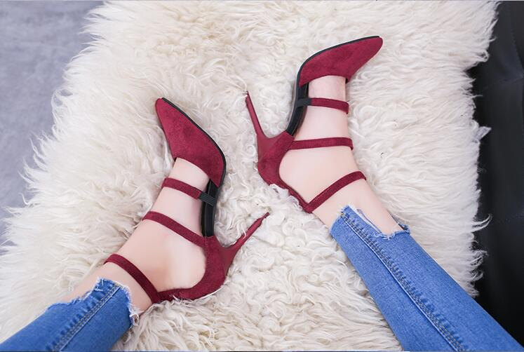 Women Delicate Burgundy Suede Thin High Heels Simply Buckle Style Stiletto Heel Pumps Sexy Pointy Cut-out Dress Shoes Hot Sell<br>