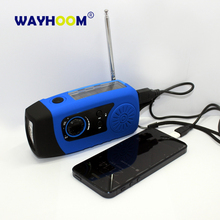 Emergency Hand Crank Solar FM Radio 2000mAh Phone Charger Hand Crank Generator Dynamo With 1W Flashlight