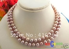 $wholesale_jewelry_wig$ free shipping 2ROW 9~10MM LAVENDER ROUND FW CULTURED PEARL NECKLACE