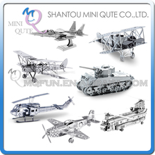 Mini Qute Piece Fun 3D vehicle military Tiger tank helicopter plane Metal Puzzle adult assemble DIY models educational toy