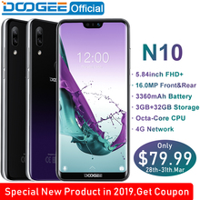 DOOGEE N10 mobile Phone Octa-Core 3GB RAM 32GB ROM 5.84inch FHD+ 19:9 Display 16.0MP Front Camera 3360mAh Android 8.1 4GLTE 2019(China)