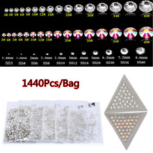 1 Pack(1440pcs) Clear Nail Crystal Rhinestones SS6 SS8 Laser 3D Nail Art Strass Gems Decoration 2016  DIY Diamond Jewelry