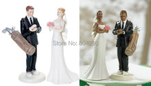 Free Shipping Cake Decoration White Golf Fanatic Couple Figurines Wedding Resin Cake Topper(China)