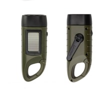Portable 3 LED Hand Crank Dynamo Solar Power Torch Flashlight Night Outdoor Camping climbing carabiner ABS Green survival kit