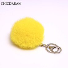 CHICDREAM 2017 8CM Faux Rabbit Fur Keychain Ball PomPom Cell Phone Car Key Chain Pendant Metal Buckle Charm Bag Key Ring Cheap