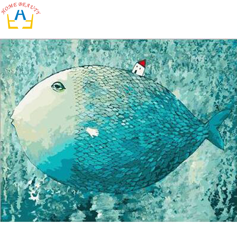 Digital oil paint by number painting by numbers diy hand painted picture can canvas drawing coloring wall craft big fish G407(China)