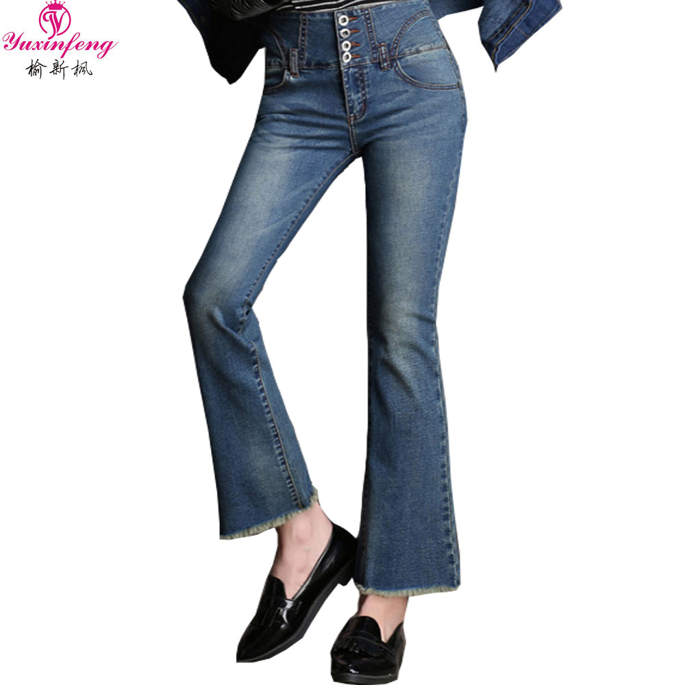 2017 New Arrival Spring Plus Size Women Flare Jeans Female Fashion Pants with Button Blue Women Boyfriends Jeans Pants Slim Одежда и ак�е��уары<br><br><br>Aliexpress