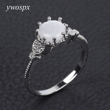 YWOSPX White Opal CZ Ring For Women Claw Inay Fashion Jewelry Moonstone Anel Wedding Ring Gifts Y40(China)