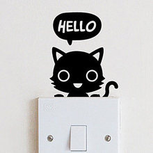 free ship CUTE small cat say hello LIGHT switch sticker,M3S2(China)