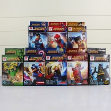 8Pcs/Lot With Box The Avengers Figure Superhero Hulk Captain America Spiderman Batman Thor Iron man X- Man Kids Toys