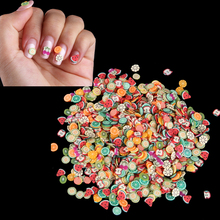 1000 Pcs/Bag Nail Art 3D Polymer Clay Tiny Fimo Canes Cute Fruit Slices DIY Summer Watermelon Mixed Decoration Sticker