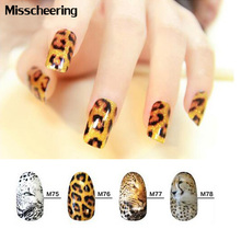4pcs/set Hot Water Stickers Leopard Design Stylish Transfer Water Nail Decals,Full Cover Nail Wraps Decoration Accessories