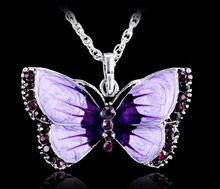 Boho Jewelry Butterfly Pendant Necklace 6 Colors Rhinestone Braided Rope Statement Necklace for Women Crystal Butterfly pendant