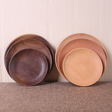 Black walnut round tray green solid wood breakfast dessert fruit plate wholesale custom Kitchen Tableware(China)