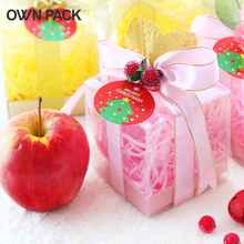 10 pcs/lot 8*8*8cm Christmas gift cake cookie clear pvc box package 1 lot=10 boxes +10 pedestals+10 ribbons+grass+accessories