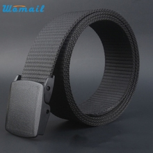 Womail Good Deal  New Fashion Black Wild Men Canvas Belt Hypoallergenic Metal free Plastic Automatic Buckle Waistbelt Gift 1PC