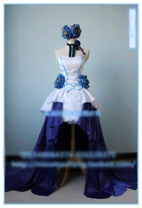 Vocaloid Teto Kasane Cosplay Cos Costume Party Blue Dress Skirt Uniform Fashion