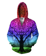 2015 New Fashion Men/Women Winter Jacket Printing Tree Graphic 3D Coat Lovers Casual Hooded Sweatshirts/Tops
