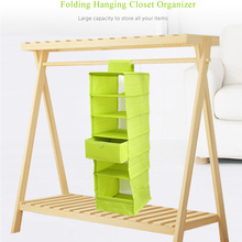 Folding Hanging 6-Compartment Shelf Closet Organizer Eco-friendly Mobile Lightweight Washable Storage Box for Clothes Socks Bras
