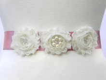 white Bridal Sash Wedding girl women Belt Pearl and Rhinestone Belt Shabby Chiffon Flower Bridesmaid Dress Sash Accessories