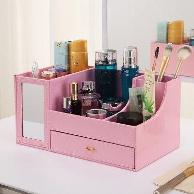 Cosmetic drawer imitation leather desktop storage box multifunctional belt mirror girls  dorms storage rack <br>