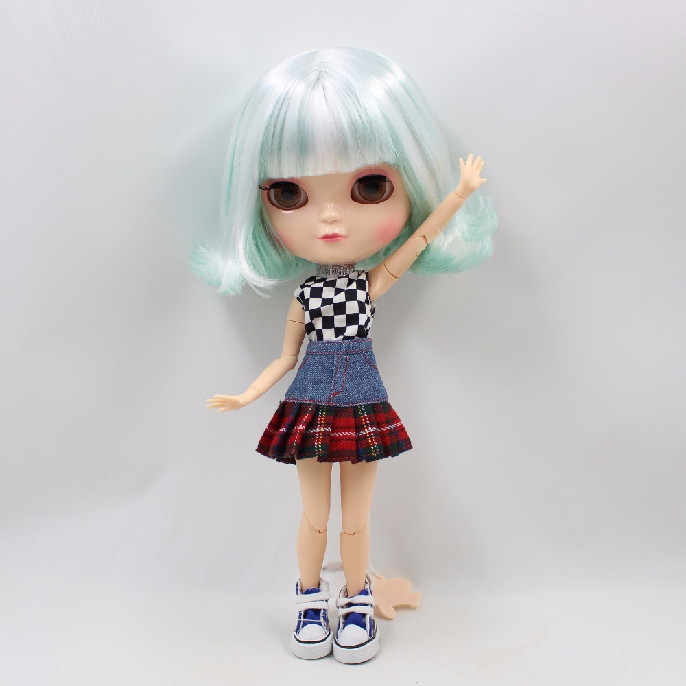 Neo Blythe Doll with Mint White Hair, White Skin, Shiny Face & Jointed Azone Body 3