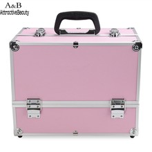 Homdox Portable Cosmetic Box Extendable Makeup Train Case Makeup Storage Brush Holder Makeup Organizer Case