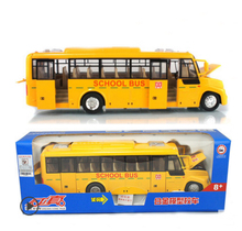 Free Shipping  1:24 Large American school bus can open alloy light back car model school bus for children toys