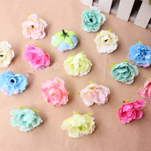 3.5CM 100Pcs Sale Artificial Silk Small Hibiscus Flower Heads Wedding party Decoration DIY Wreath Gift Box Craft Fake Flowers(China)