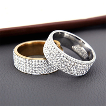 Hot Sale Vintage Retro Style Steel Ring for Women 5 Row Clear Crystal Jewelry Fashion Stainless Steel Engagement Wedding Rings(China)