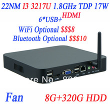 2014 Newest ITX Mini Computer Mini PCs with I3 3217u 1.8Ghz with Intel NM70 Express Chipset 8G RAM 320G HDD supports WIFI/3G