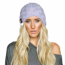 Fashion Womens Hats button Beanies Winter Gorros for Female Knitted wool Warm Skullies for protect ear warm Chapeu Feminino #yl