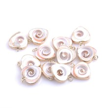 Heart Shped Sea Shell Concha Charm Gold Plated Metal Tripping for Jewelry Craft Making Handmade 10pcs 24-25mm TRS0157(China)