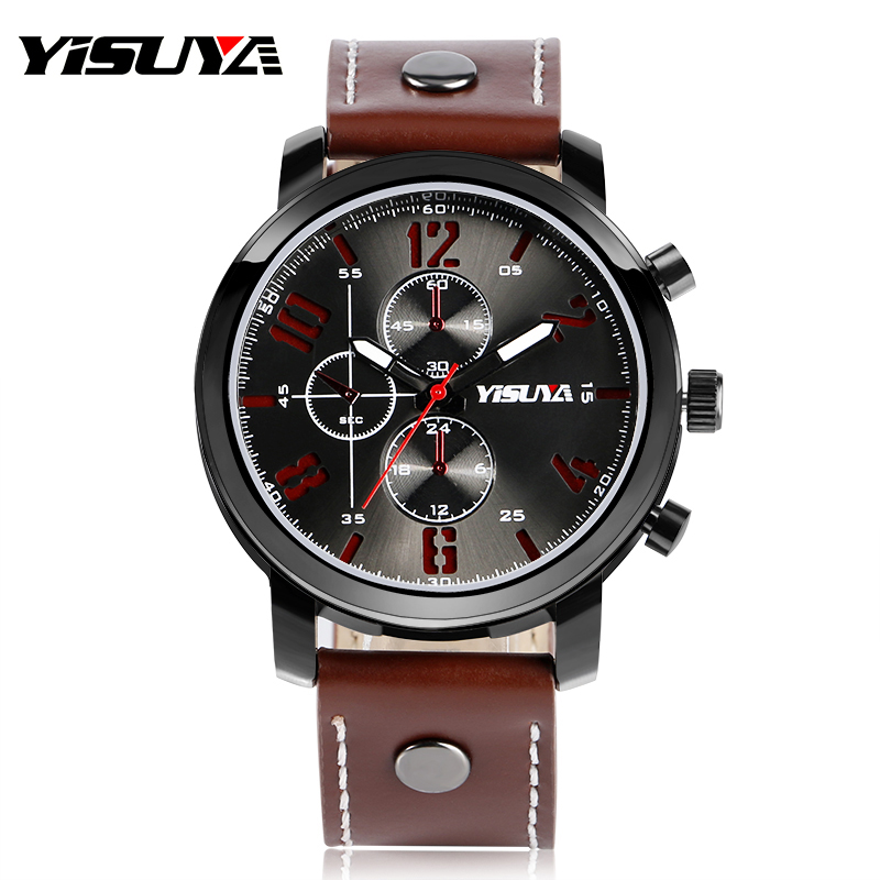YISUYA Luxury Army Military Aviator Brown Genuine Leather Band Wrist Watch Cool Analog Outdoor Sport Men Business Wristwatch<br><br>Aliexpress