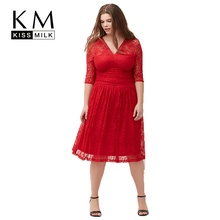 Kiss Milk 2017 Plus Size Women Clothing Cut Out Red Midi Dress Elegent and Beautiful Plunge Neck And Size 3XL 4XL 5XL 6XL