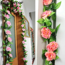 Artificial Plants Green Leaves Vine Simulation Cane Adornment Flowers Garland Home Wall Party For Decoration Rose Vines 2.4m(China)