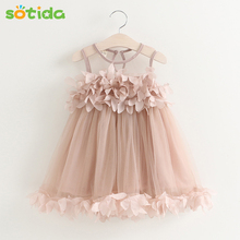 Sotida Girls Dresses 2017 Sweet Princess Dress Baby Kids Girls Clothing Wedding Party Dresses Children Clothing Pink Applique